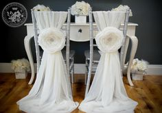Aurora ~ Large Handmade Fabric Flower - Wedding / Parties - Chair Cover Accessories on Etsy