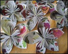 Recycled paper flower things.  I'm posting a craft thing.  What is happening.