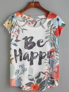 T-shirt à fleurs imprimé lettres - blanc Vêtements Homme, Chemise Femme,  Garde fee5bca85f2