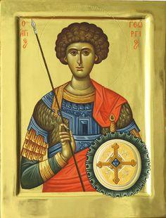 Άγιος Γεώργιος / Saint George Byzantine Icons, Orthodox Christianity, Orthodox Icons, Christen, Spiritual Inspiration, Kirchen, Fresco, Saints, Spirituality