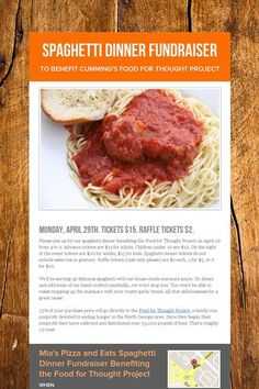 A great flyer/invitation for a Spaghetti Dinner Fundraiser.