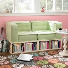 Mini couch for a kid's bedroom with storage underneath. Very clever (in a different color and fabric) PERFECT for under my loft bed