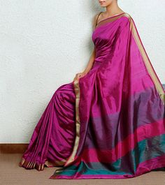 Pink pure silk Maheshwari saree with a gold border.