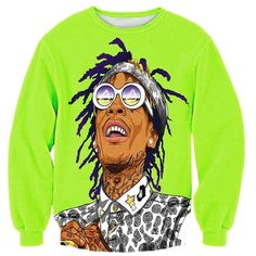 Womens Crewneck Wiz Khalifa Cartoon 3D Printed Sweatshirt Green ($21) ❤ liked on Polyvore featuring tops, green, comic book, green top and crew neck tops