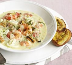 Creamy Seafood Stew: A low-fat seafood stew that tastes anything but, and all ready in 30 minutes too