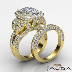Diamond Engagement Ring Cushion Pave Bridal Set 14k Gold Yellow 3.9Ct.