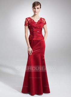 Trumpet/Mermaid V-neck Floor-Length Satin Mother of the Bride Dress With Lace Beading (008005754) - JJsHouse