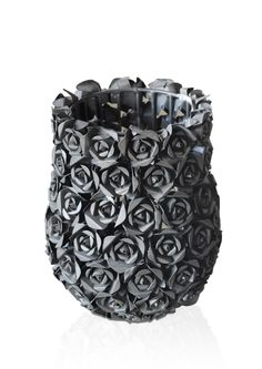 ROSY VASE: Made of iron with Silver powder coating; Dimensions: L13.3 x W13.3 x H17.1 cm; PRICE: Rs 1830/-;   Buy Now : http://tfrhome.com/landing/productlandingpage.php?product_code=ma-39