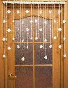Crochet Curtain Pattern, Crochet Curtains, Curtain Patterns, Beaded Curtains, Doily Patterns, Crochet Leaves, Crochet Motifs, Crochet Snowflakes, Crochet Diagram