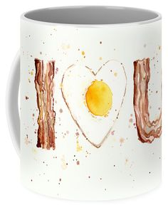 Bacon & Egg I Love You Coffee Mug. Available in two sizes: 11oz & 15oz. Each is dishwasher & microwave safe. #coffeemug #coffee #mug #eggsandbacon