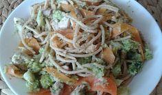 Špagety s brokolicí, mrkví a kuřecím masem