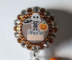 Jack Skellington Nightmare Before Christmas Halloween Badge Holder with Charms/Beads by Lindasbadgeboutique on Etsy