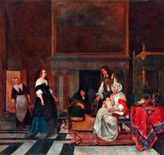 """1660 - """"Visit to the Nursery""""  (after the birth of Sara Hinlopen) by Gabriel Metsu (Netherlands, 1629-1667). Metropolitan Museum of Art, NYC."""