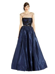 Point d'Esprit & Embroidered Patchwork Silk Taffeta Gown  oscar del arenta . ready-to-wear