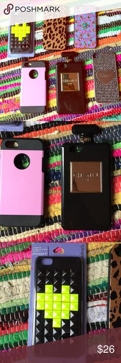 Six iPhone 5 cases all together as a set FIVE cases SET  one brand new black and neon yellow case cheetah case diamond and gem purple and Aqua case pink and black case AND black and gold Chanel perfume case ALL TOGETHER AS A SET I NO LONGER HAVE IPHONE 5! If U want one then sell the other ones on ur posh make your money back or ask me I might split some up but it's a great deal and u can switch cases on ur phone a lot! Offers welcome on set through offer button PINK Victoria's Secret…