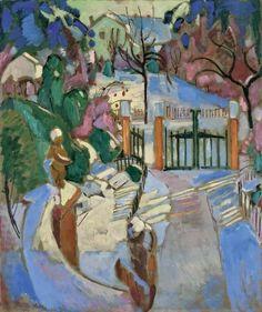 Oskar Moll (German, 1875-1947),Vorgarten im Winter[Front garden in winter], 1917. Oil on canvas, 120 x 100.5 cm