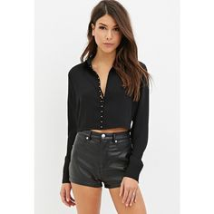 Forever 21 Women's  Cutout-Back Crop Top ($28) ❤ liked on Polyvore featuring tops, forever 21, crop top, forever 21 tops, long sleeve crop top and cutout back top