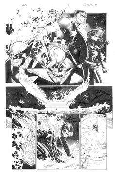 xcyclopswasrightx: Avengers vs X-men 11 pg 14 by ~Olivier Coipel & Mark Morales Comic Book Layout, Comic Book Pages, Comic Book Artists, Comic Book Characters, Comic Artist, Comic Books Art, Bd Comics, Manga Comics, Black And White Comics