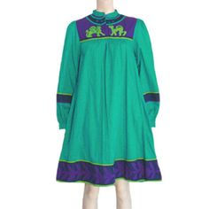 1980s Vintage  Ethic Cotton Tent Dress Purple Green NWT Saybury #Saybury