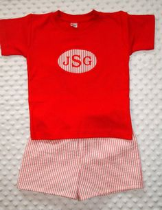 For Gray - Boys Toddler  seersucker short set / Summer classic with monogram applique personalized. $35.00, via Etsy.