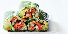These veggie wraps made with collard greens and loaded with goodness are an easy dinner when it's too hot to cook, and they're a perfect brown bag lunch. Wrap Recipes, Lunch Recipes, Smoothie Recipes, Healthy Recipes, Entree Recipes, Healthy Foods, Healthy Cooking, Healthy Eating, Healthy Fruits