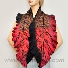 Red and Black Felted Scarf Wool and Silk Scarf Hand dyed - Red sakura scarf. $119.00, via Etsy.