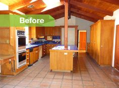 BEFORE: This wooden post dictated the previous kitchen layout. Without it, Jay pushed the kitchen workspaces to the opposite side near large windows and beneath the skylight.    American walnut replaced the terra-cotta floors throughout the house.