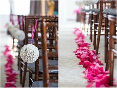Flower pom-poms and floral aisle wedding // Image by Rebecca Ellison Wedding Chairs, Wedding Images, Pom Poms, Bay Area, Big Day, Ladder Decor, Wedding Stuff, Wedding Decorations, Bride