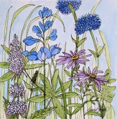 Blue bachelor buttons, mint, asters and larkspur in a watercolor original botanical garden nature art painting. Wildflowers and garden flowers in shades of blues and lavenders with sprigs of green grass with a hint of blue skies. The title of this whimsical painting Blue Buttons by Laurie Rohner. Each flower painted by hand and then I apply ink. This delightful whimsical botanical watercolor very affordable. Title: Blue Buttons Medium: Watercolor and Ink on Paper Paper: 140lb. rag paper…