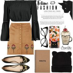 How To Wear Cat Autumn Outfit Idea 2017 - Fashion Trends Ready To Wear For Plus Size, Curvy Women Over 20, 30, 40, 50