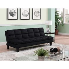 Allegra Pillow-Top Futon Sofa Bed, Black Microfiber