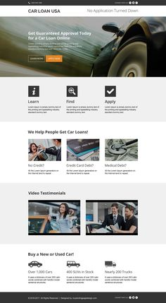 instant car loan approval modern landing page design
