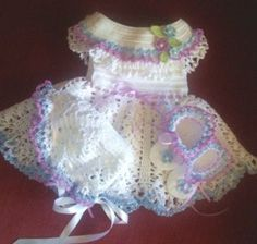 special occasion crochet baby dress with hat and shoes