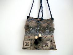 Small Southwest Cross Body Bag in Brown, Blue and Tan with Feathers    | ClassA - Bags & Purses on ArtFire