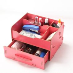 Menu Life Ladies Jewellery Storage Boxes Creative Wooden Desk Organiser Drawers Office Desk Storage Boxes DIY Needed (Red)