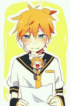 I don't know if Len is blushing because of Rin, or because someone wrote something cute in that letter... Hummm..