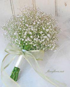 かすみ草ブーケにオーガンジーリボン : FLORAFLORA*precious flowers*ウェディングブーケ会場装花&フラワースクール*