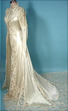 c. 1930's Wedding Ensemble of Rayon Satin With Lace Bridal Overcoat
