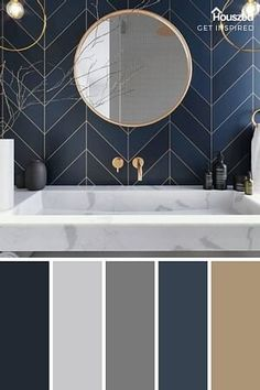 Navy blue tile and Gold fixtures in the bath. (image via Get Inspired) Bathroom Color Schemes, Interior Color Schemes, Decorating Color Schemes, Bad Inspiration, Bathroom Inspiration, Gold Bathroom, Master Bathroom, Bathroom Fixtures, Bathrooms