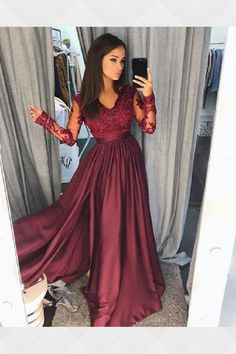 bece4988 Long Sleeves Prom Dress, Evening Dresses Long, A-Line Prom Dress, Evening