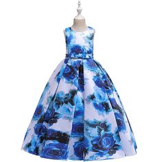 Kids Little Girls' Dress Floral Graphic Tie Dye Party Birthday Party Print Blue Red Orange Maxi Sleeveless Flower Streetwear Dresses Children's Day All Seasons Slim 4-12 Years 2021 - US $25.29