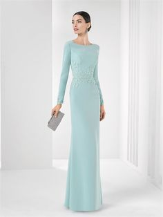 Sheath/column scoop floor length light sky blue Homecoming dresses with long sleeves PHFD0047