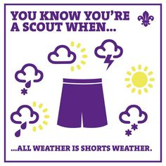 You know you're a Scout when...all weather is shorts weather!