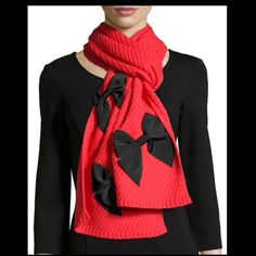 NEW WITH TAGS Kate Spade Red Rib Bow Scarf http://www.neimanmarcus.com/kate-spade-new-york-diagonal-rib-bow-scarf/prod180570241/p.prod.     Brand new super cute scarf with tags! Here is listing on Neiman Marcus kate spade Accessories Scarves & Wraps