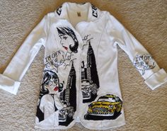 Women's L O O K Jacket Top Funky White Black Cars Rhinestones Sexy Small #LOOK #BasicJacket #Casual