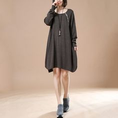 Women Retro Casual Sweater Dark Brown Autumn Long Sleeve Dress