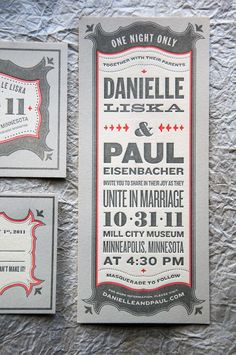 Gray and Red (wedding invitation design)