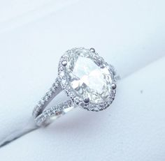 2 Carat Oval Engagement Ring Set On Split Shank 1. I love this it's elegant and I like that it is two carats