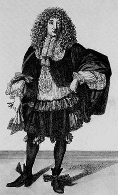 Gentleman. Wearing a falling band with tassels and ribbon bows at his waist. French 1660's