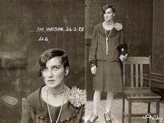 MUG SHOT (1920's) Fay Watson was arrested for possession of cocaine and fined.  Related to: australia, criminals, justice and police museum, mugshots, new south wales police department, old, vintage, women's crimes: